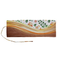 Floral Background Abstract Pattern Roll Up Canvas Pencil Holder (m)
