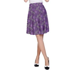 Flowers Violet Decorative Pattern A-line Skirt by Vaneshart
