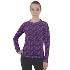 Flowers Violet Decorative Pattern Women s Pique Long Sleeve Tee