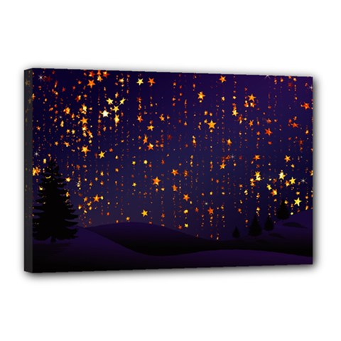 Christmas Background Star Canvas 18  X 12  (stretched)
