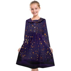 Christmas Background Star Kids  Midi Sailor Dress