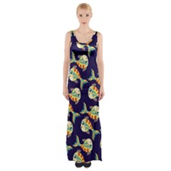 Fish Background Abstract Animal Thigh Split Maxi Dress