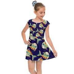 Fish Background Abstract Animal Kids  Cap Sleeve Dress by Vaneshart