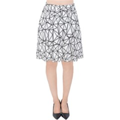 Triangle Poly Low Poly Background Velvet High Waist Skirt