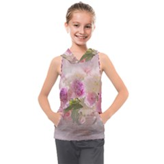 Nature Landscape Flowers Peonie Kids  Sleeveless Hoodie by Vaneshart