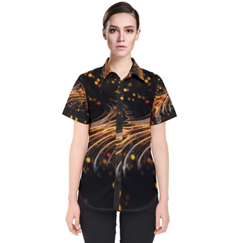 Abstract Background Particles Wave Women s Short Sleeve Shirt by Vaneshart