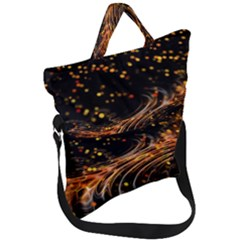 Abstract Background Particles Wave Fold Over Handle Tote Bag