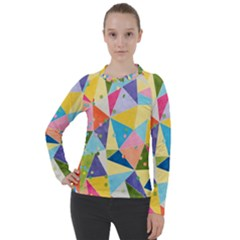 Abstract Background Colorful Women s Pique Long Sleeve Tee