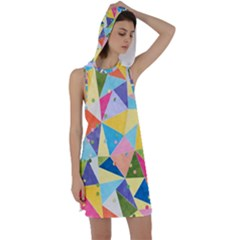 Abstract Background Colorful Racer Back Hoodie Dress