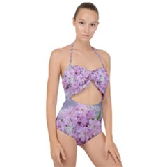 Nature Landscape Cherry Blossoms Scallop Top Cut Out Swimsuit