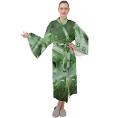 Green Wet Rain Water Drops Plant Maxi Velour Kimono by Vaneshart
