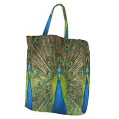 Peacock Feathers Bird Nature Giant Grocery Tote