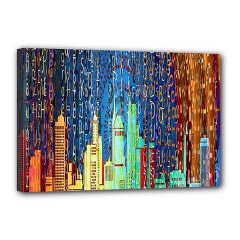 Matrix City Urbanization Technology Canvas 18  X 12  (stretched)