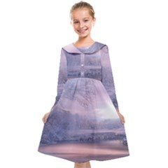 Nature Landscape Winter Kids  Midi Sailor Dress