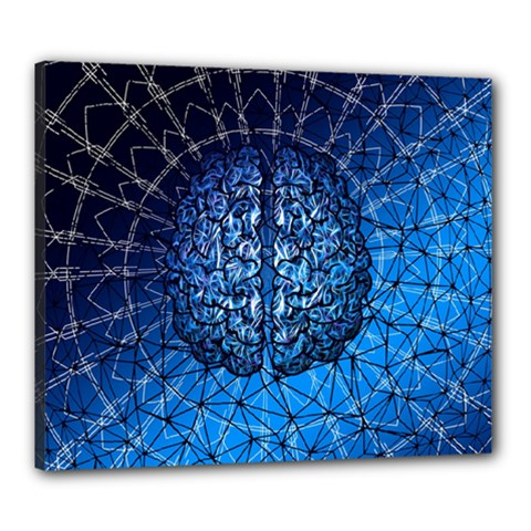 Brain Web Network Spiral Think Canvas 24  X 20  (stretched)