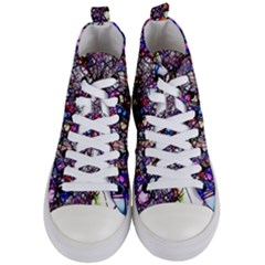 Web Network Abstract Connection Women s Mid Top Canvas Sneakers
