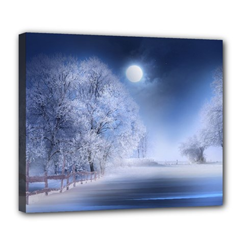 Nature Landscape Winter Deluxe Canvas 24  X 20  (stretched) by Vaneshart