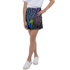 Peacock Colors Bird Colorful Kids  Tennis Skirt by Vaneshart
