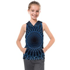 Abstract Rosette Web Network Kids  Sleeveless Hoodie
