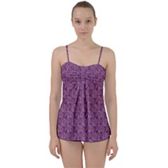 Leaf Pattern Lace Leaf Leaves Babydoll Tankini Set