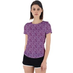 Leaf Pattern Lace Leaf Leaves Back Cut Out Sport Tee
