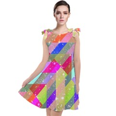 Multicolored Party Geo Design Print Tie Up Tunic Dress by dflcprintsclothing