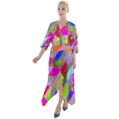 Multicolored Party Geo Design Print Quarter Sleeve Wrap Front Maxi Dress by dflcprintsclothing