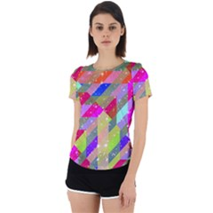 Multicolored Party Geo Design Print Back Cut Out Sport Tee