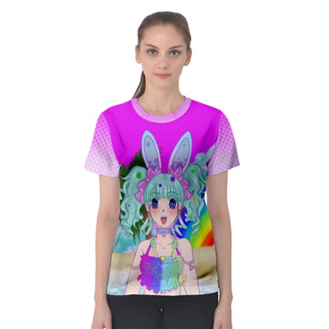 Beach Bunny Shirt (collab With Prismatic Fanatic) Women s Sport Mesh Tee by Deltaavi