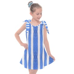 Tarija 016 Blue White Kids  Tie Up Tunic Dress