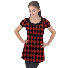 Block Fiesta - Apple Red & Black Puff Sleeve Tunic Top by FashionLane