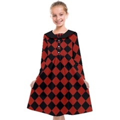 Block Fiesta - Apple Red & Black Kids  Midi Sailor Dress
