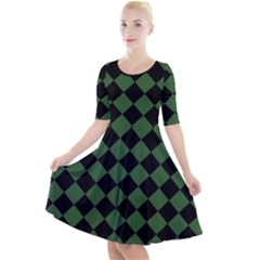 Block Fiesta - Basil Green & Black Quarter Sleeve A-line Dress by FashionLane