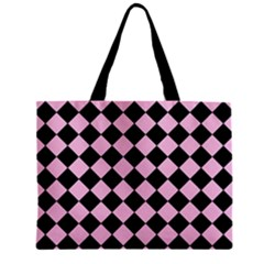 Block Fiesta - Blush Pink & Black Zipper Mini Tote Bag by FashionLane