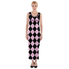 Block Fiesta   Blush Pink & Black Fitted Maxi Dress