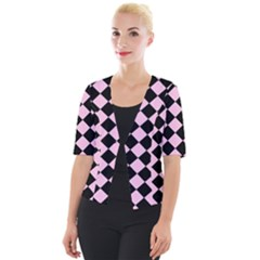 Block Fiesta - Blush Pink & Black Cropped Button Cardigan