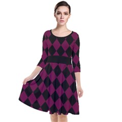Block Fiesta - Boysenberry Purple & Black Quarter Sleeve Waist Band Dress by FashionLane
