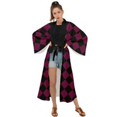 Block Fiesta - Boysenberry Purple & Black Maxi Kimono by FashionLane