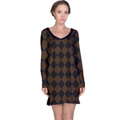 Block Fiesta   Brunette Brown & Black Long Sleeve Nightdress