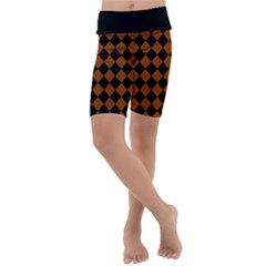 Block Fiesta   Burnt Orange & Black Kids  Lightweight Velour Cropped Yoga Leggings