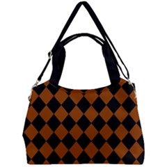 Block Fiesta - Burnt Orange & Black Double Compartment Shoulder Bag by FashionLane