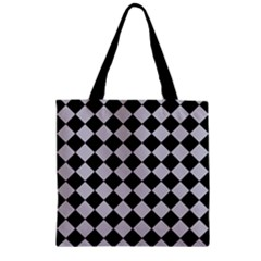 Block Fiesta - Cloudy Grey & Black Zipper Grocery Tote Bag by FashionLane