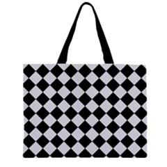 Block Fiesta - Cloudy Grey & Black Zipper Large Tote Bag by FashionLane