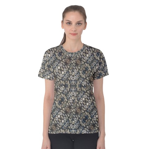 Urban Art Textured Print Pattern Women s Cotton Tee by dflcprintsclothing