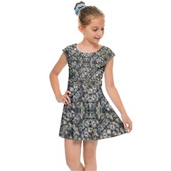 Urban Art Textured Print Pattern Kids  Cap Sleeve Dress by dflcprintsclothing