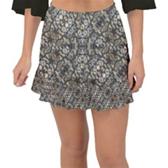 Urban Art Textured Print Pattern Fishtail Mini Chiffon Skirt by dflcprintsclothing
