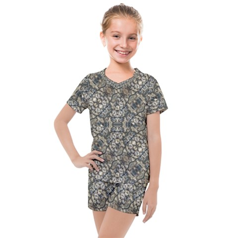 Urban Art Textured Print Pattern Kids  Mesh Tee And Shorts Set by dflcprintsclothing