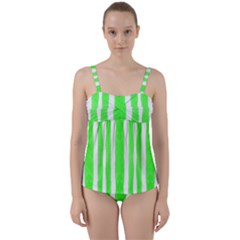Tarija 016 White Neon Green Twist Front Tankini Set
