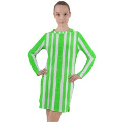 Tarija 016 White Neon Green Long Sleeve Hoodie Dress