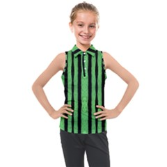 Tarija 016 Black Light Green Kids  Sleeveless Polo Tee